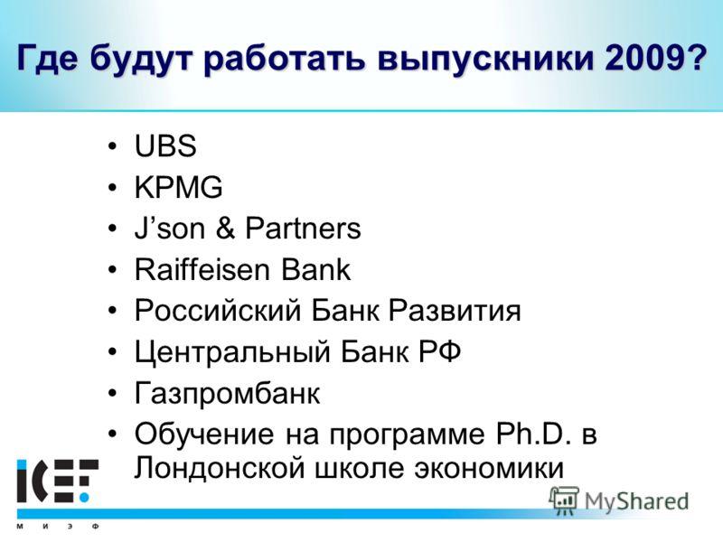 Где будут работать выпускники 2009? UBS KPMG Json & Partners Raiffeisen Bank Российский Банк Развития Центральный Банк РФ Газпромбанк Обучение на программе Ph.D. в Лондонской школе экономики