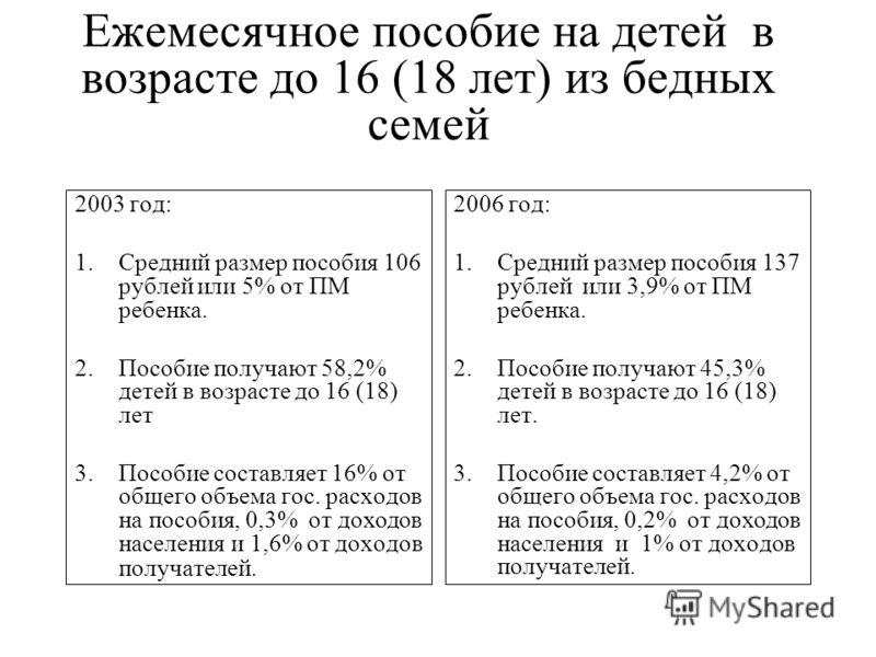 ежемесячное пособие на ребенка до 16 лет в 2013 году: