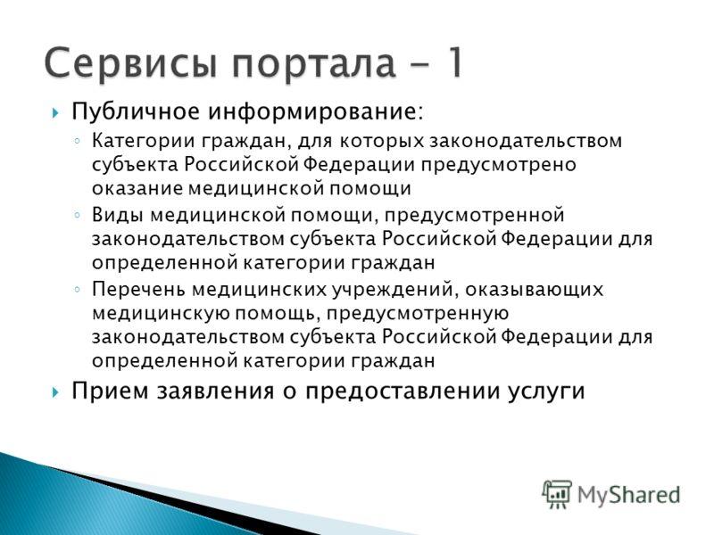 Публичное информирование: Категории граждан, для которых законодательством субъекта Российской Федерации предусмотрено оказание медицинской помощи Виды медицинской помощи, предусмотренной законодательством субъекта Российской Федерации для определенн