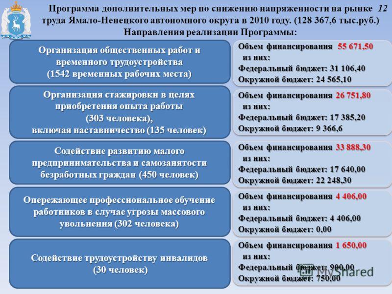 Программа дополнительных мер по снижению напряженности на рынке труда Ямало-Ненецкого автономного округа в 2010 году. (128 367,6 тыс.руб.) Направления реализации Программы: Организация общественных работ и временного трудоустройства (1542 временных р