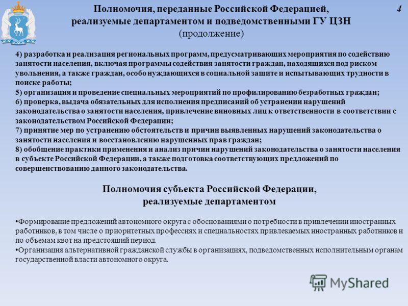 Полномочия, переданные Российской Федерацией, реализуемые департаментом и подведомственными ГУ ЦЗН (продолжение) 4) разработка и реализация региональных программ, предусматривающих мероприятия по содействию занятости населения, включая программы соде