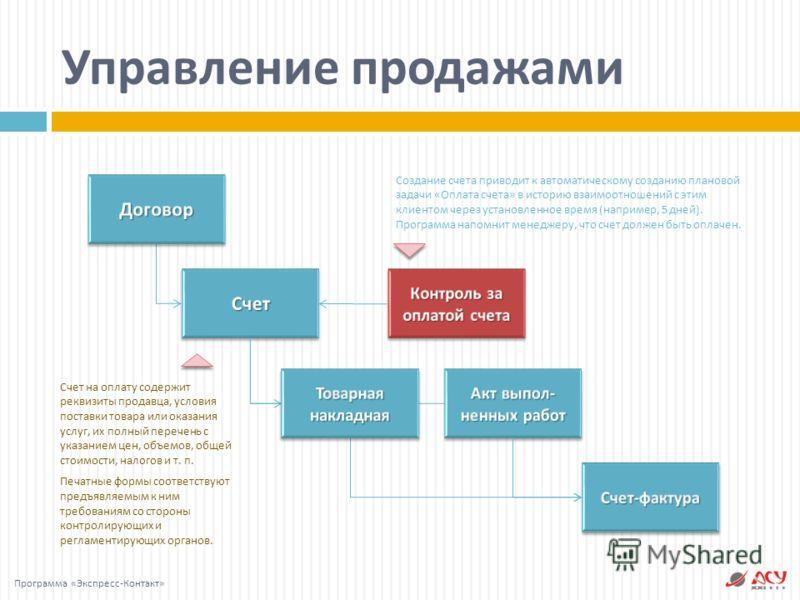 Управление продажами Создание счета приводит к автоматическому созданию плановой задачи « Оплата счета » в историю взаимоотношений с этим клиентом через установленное время ( например, 5 дней ). Программа напомнит менеджеру, что счет должен быть опла