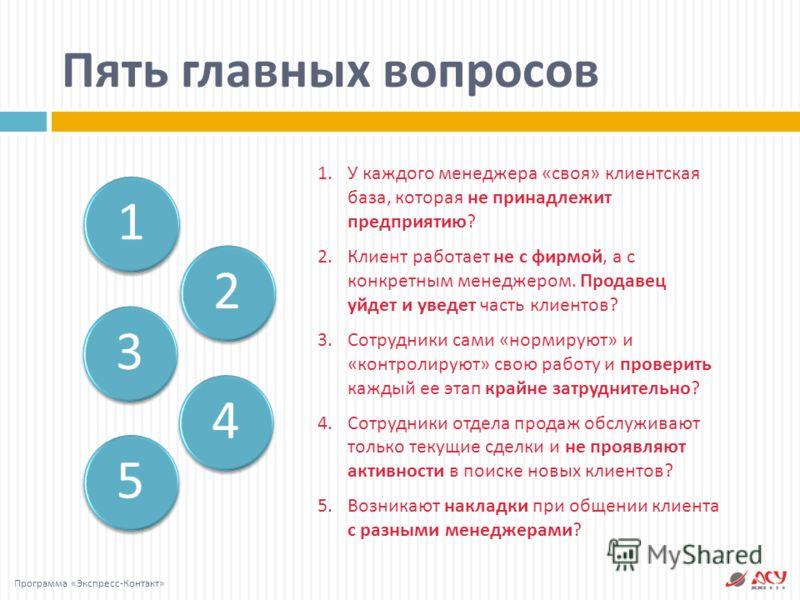 3 52 4 1 Пять главных вопросов Программа « Экспресс - Контакт » 1. У каждого менеджера « своя » клиентская база, которая не принадлежит предприятию ? 2. Клиент работает не с фирмой, а с конкретным менеджером. Продавец уйдет и уведет часть клиентов ?