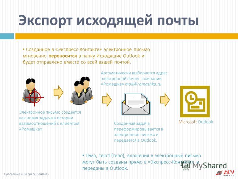 Тема, текст ( тело ), вложения в электронные письма могут быть созданы прямо в « Экспресс - Контакте » и переданы в Outlook. Созданное в « Экспресс - Контакте » электронное письмо мгновенно переносится в папку Исходящие Outlook и будет отправлено вме
