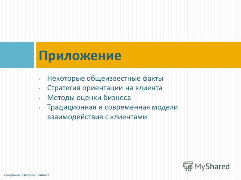 Некоторые общеизвестные факты Стратегия ориентации на клиента Методы оценки бизнеса Традиционная и современная модели взаимодействия с клиентами Приложение Программа « Экспресс - Контакт »