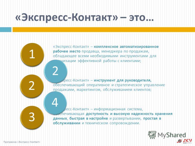 « Экспресс - Контакт » – это … Программа « Экспресс - Контакт » « Экспресс - Контакт » – комплексное автоматизированное рабочее место продавца, менеджера по продажам, обладающее всеми необходимыми инструментами для организации эффективной работы с кл