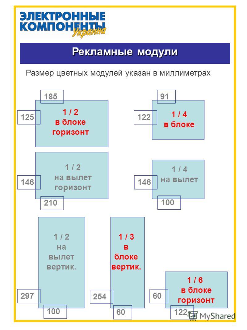Рекламные модули Размер цветных модулей указан в миллиметрах 1 / 2 в блоке горизонт 185 125 1 / 2 на вылет горизонт 146 210 1 / 2 на вылет вертик. 100 297 1 / 3 в блоке вертик. 60 254 1 / 4 в блоке 91 122 1 / 4 на вылет 100 146 1 / 6 в блоке горизонт