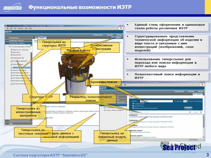 3 Система подготовки ИЭТР Seamatica-ED Innovative technologies Функциональные возможности ИЭТР Интерактивные иллюстрации Модуль данных с текстовой информацией Структура ИЭТР Структурированное представление технической информации об изделии в виде тек