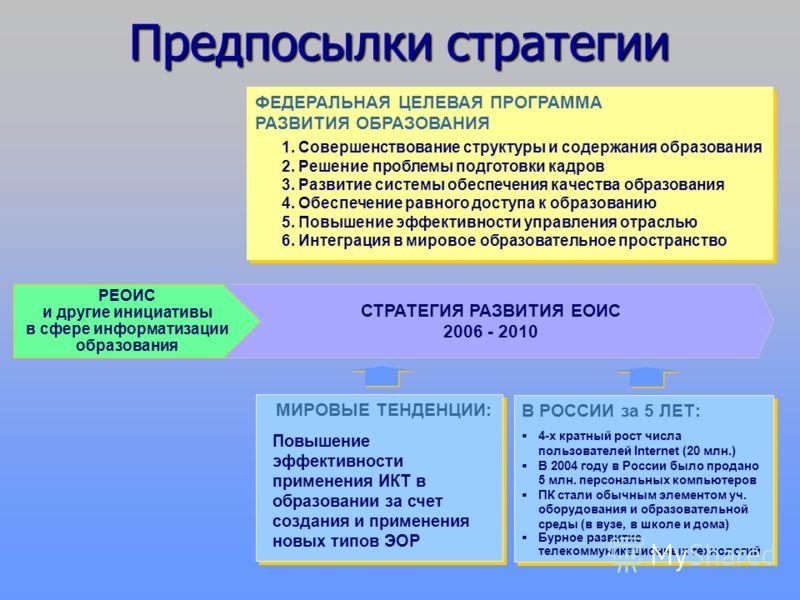 Преемственность ФЦПРО В 2006-2010 годах организационной основой реализации государственной политики Российской Федерации в области информатизации образования должна стать Федеральная целевая программа развития образования (ФЦПРО), обеспечивающая прод