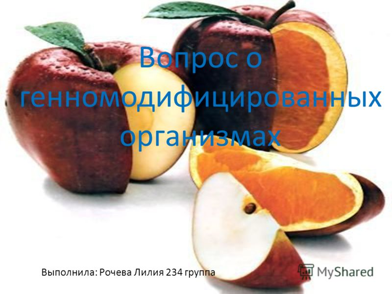 Вопрос о генномодифицированных организмах Выполнила: Рочева Лилия 234 группа