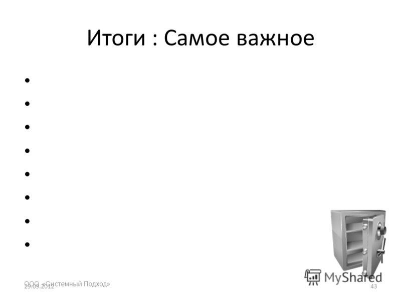 Итоги : Самое важное ООО «Системный Подход» 03.07.201243