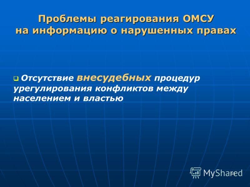 15 Отсутствие внесудебных процедур урегулирования конфликтов между населением и властью Проблемы реагирования ОМСУ на информацию о нарушенных правах