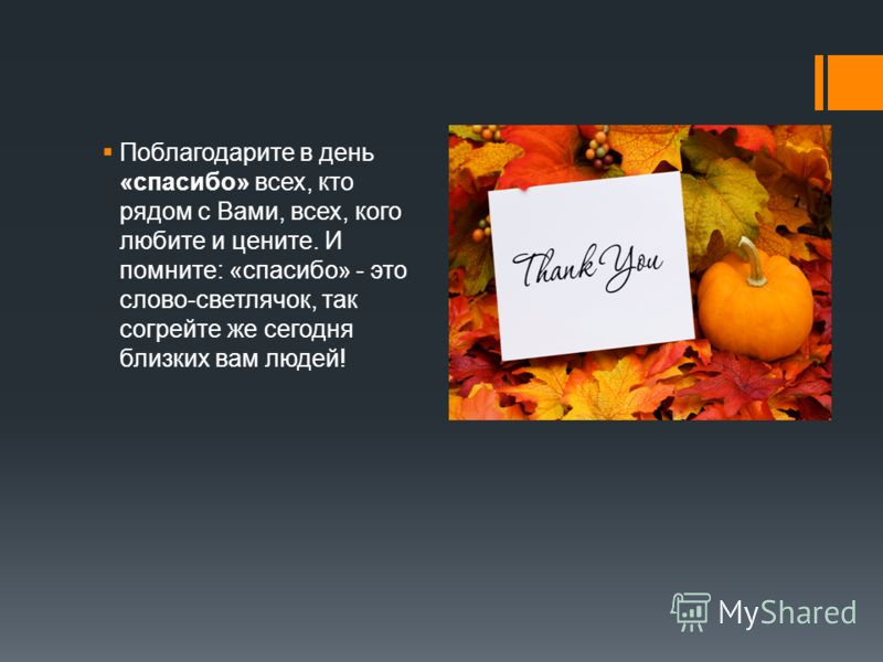 Поблагодарите в день «спасибо» всех, кто рядом с Вами, всех, кого любите и цените. И помните: «спасибо» - это слово-светлячок, так согрейте же сегодня близких вам людей!
