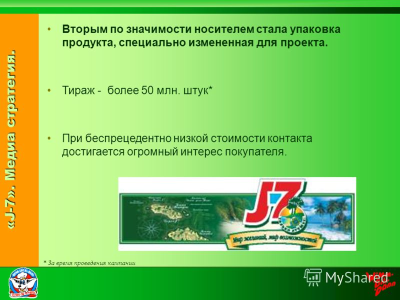 «J-7». Медиа стратегия. Вторым по значимости носителем стала упаковка продукта, специально измененная для проекта. Тираж - более 50 млн. штук* При беспрецедентно низкой стоимости контакта достигается огромный интерес покупателя. * За время проведения