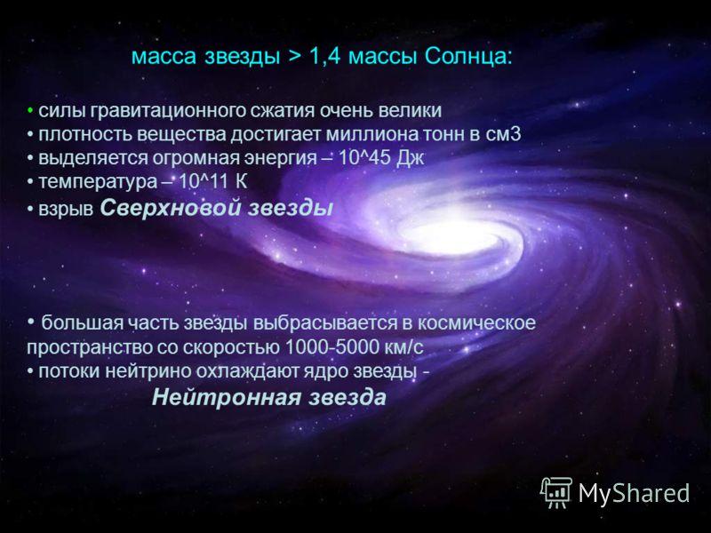 масса звезды > 1,4 массы Солнца: силы гравитационного сжатия очень велики плотность вещества достигает миллиона тонн в см3 выделяется огромная энергия – 10^45 Дж температура – 10^11 К взрыв Сверхновой звезды большая часть звезды выбрасывается в косми