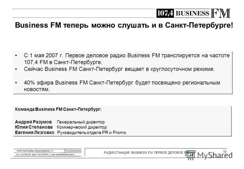 РАДИОСТАНЦИЯ BUSINESS FM. ПЕРВОЕ ДЕЛОВОЕ РАДИО 10 Business FM теперь можно слушать и в Санкт-Петербурге! С 1 мая 2007 г. Первое деловое радио Business FM транслируется на частоте 107,4 FM в Санкт-Петербурге. Сейчас Business FM Санкт-Петербург вещает