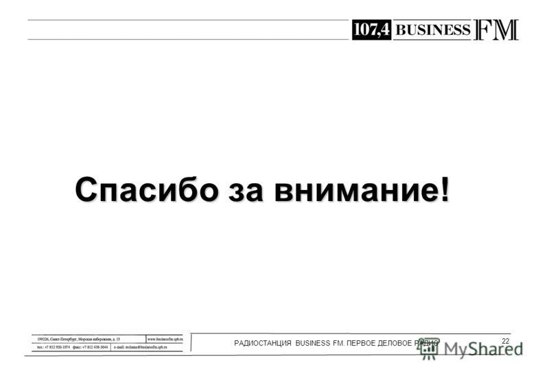 РАДИОСТАНЦИЯ BUSINESS FM. ПЕРВОЕ ДЕЛОВОЕ РАДИО 22 Спасибо за внимание!