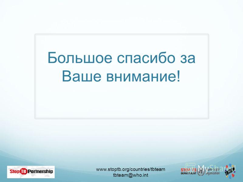 www.stoptb.org/countries/tbteam tbteam@who.int 56 Большое спасибо за Ваше внимание!