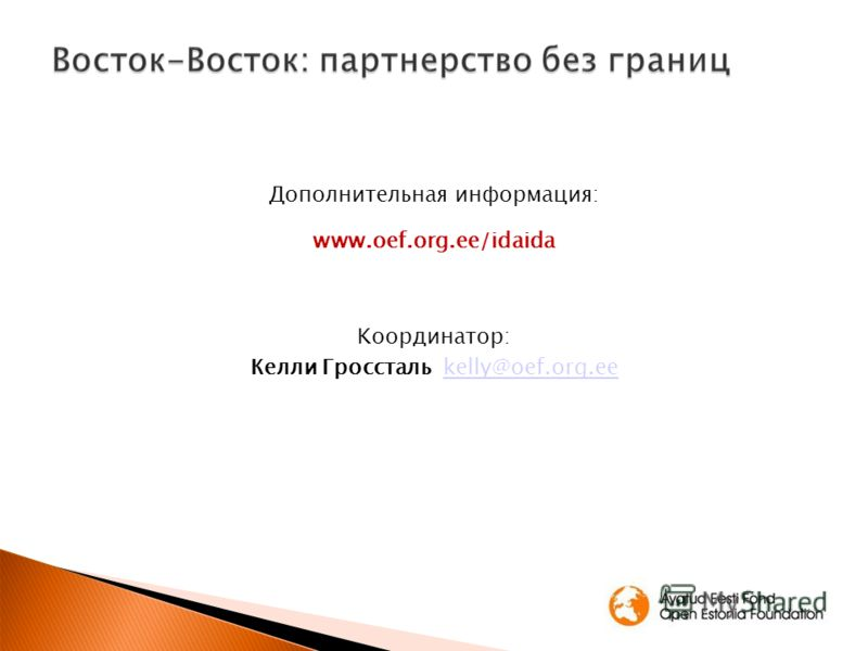Дополнительная информация: www.oef.org.ee/idaida Kooрдинатор: Келли Гросcталь kelly@oef.org.eekelly@oef.org.ee
