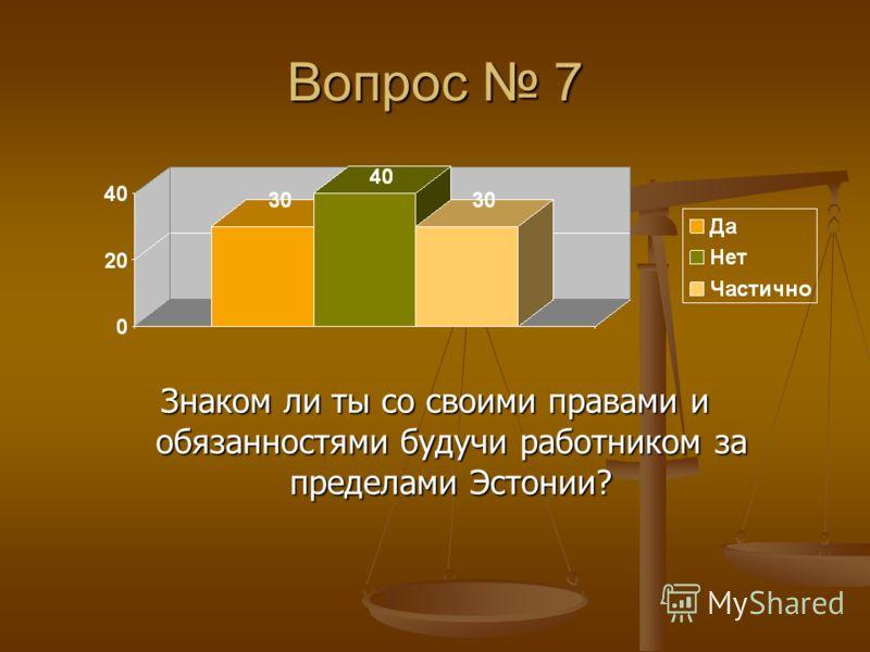 Вопрос 7 Знаком ли ты со своими правами и обязанностями будучи работником за пределами Эстонии?