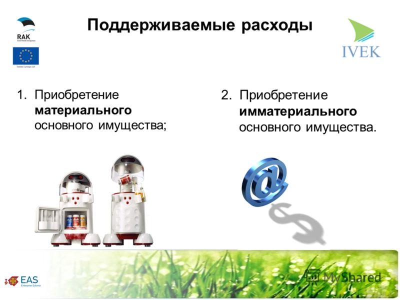 Поддерживаемые расходы 1. Приобретение материального основного имущества; 2. Приобретение имматериального основного имущества.