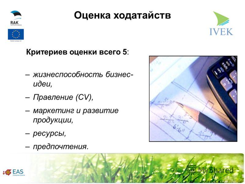 Оценка ходатайств Критериев оценки всего 5: –жизнеспособность бизнес- идеи, –Правление (CV), –маркетинг и развитие продукции, –ресурсы, –предпочтения.