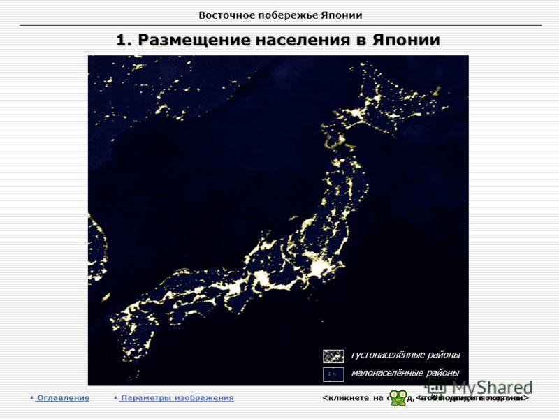 Восточное побережье Японии 1. Размещение населения в Японии Оглавление Оглавление Параметры изображения густонаселённые районы малонаселённые районы