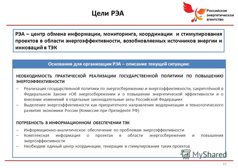 Российское энергетическое агентство РЭА – центр обмена информации, мониторинга, координации и стимулирования проектов в области энергоэффективности, возобновляемых источников энергии и инноваций в ТЭК Цели РЭА 10 НЕОБХОДИМОСТЬ ПРАКТИЧЕСКОЙ РЕАЛИЗАЦИИ