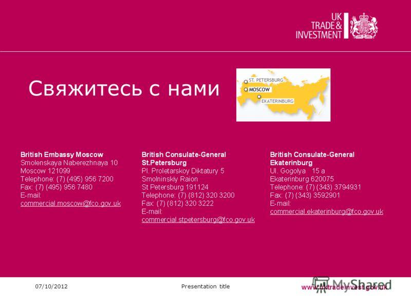 06/08/2012Presentation title2 Свяжитесь с нами www.uktradeinvest.gov.uk