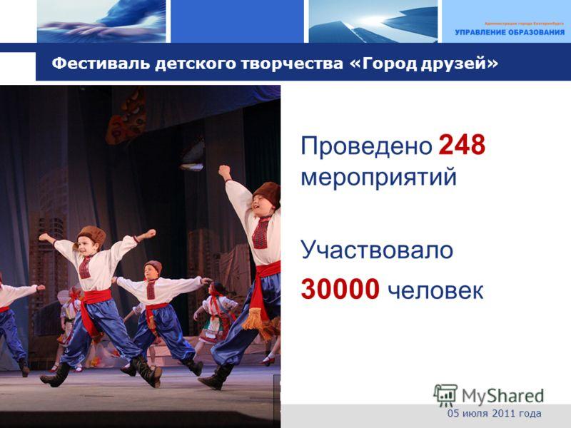 L o g o Фестиваль детского творчества «Город друзей» Проведено 248 мероприятий Участвовало 30000 человек 05 июля 2011 года