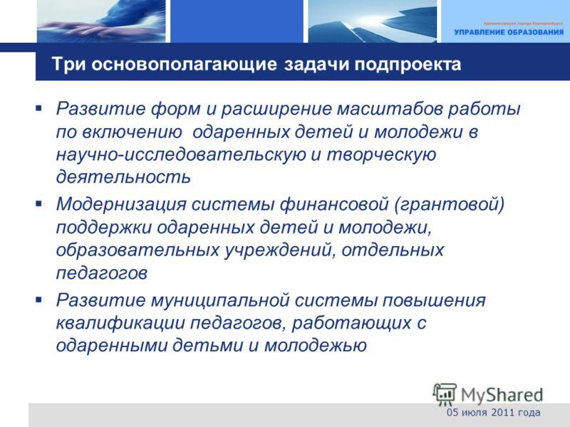 L o g o Три основополагающие задачи под проекта 05 июля 2011 года Развитие форм и расширение масштабов работы по включению одаренных детей и молодежи в научно-исследовательскую и творческую деятельность Модернизация системы финансовой (грантовой) под