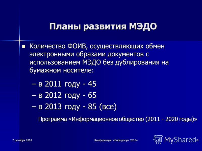 7 декабря 2010 Конференция «Инфодокум 2010» 10 Планы развития МЭДО Количество ФОИВ, осуществляющих обмен электронными образами документов с использованием МЭДО без дублирования на бумажном носителе: Количество ФОИВ, осуществляющих обмен электронными