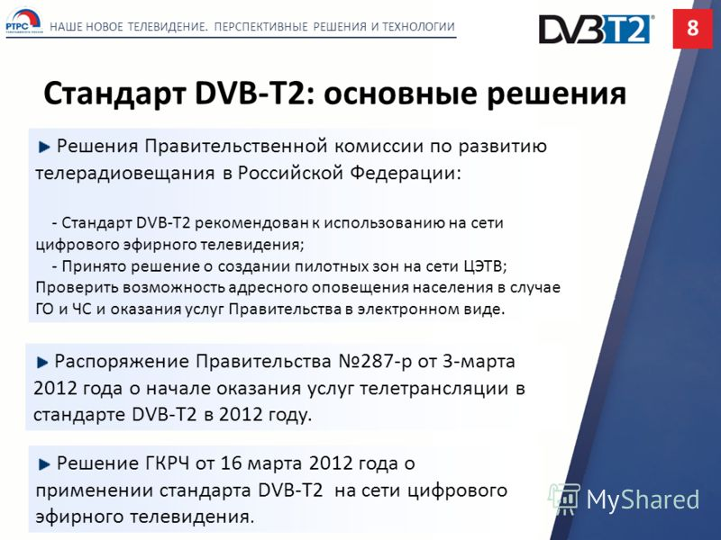 Стандарт DVB-T2: основные решения НАШЕ НОВОЕ ТЕЛЕВИДЕНИЕ. ПЕРСПЕКТИВНЫЕ РЕШЕНИЯ И ТЕХНОЛОГИИ 8 Решение ГКРЧ от 16 марта 2012 года о применении стандарта DVB-T2 на сети цифрового эфирного телевидения. Решения Правительственной комиссии по развитию тел