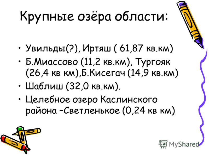 Крупные озёра области: Увильды(?), Иртяш ( 61,87 кв.км) Б.Миассово (11,2 кв.км), Тургояк (26,4 кв км),Б.Кисегач (14,9 кв.км) Шаблиш (32,0 кв.км). Целебное озеро Каслинского района –Светленькое (0,24 кв км)