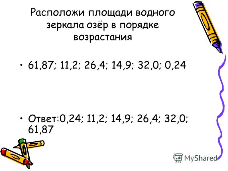 Расположи площади водного зеркала озёр в порядке возрастания 61,87; 11,2; 26,4; 14,9; 32,0; 0,24 Ответ:0,24; 11,2; 14,9; 26,4; 32,0; 61,87