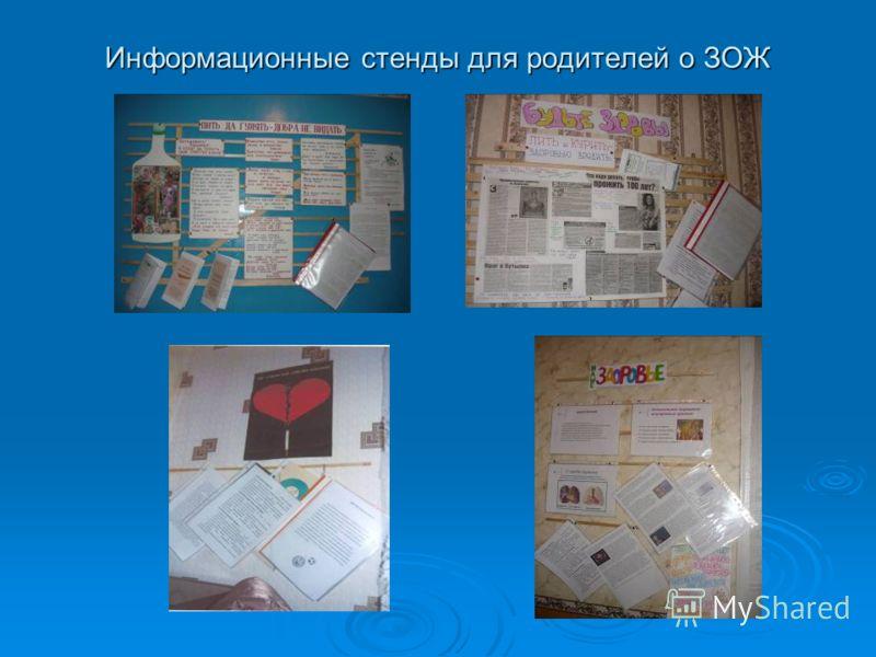 Информационные стенды для родителей о ЗОЖ