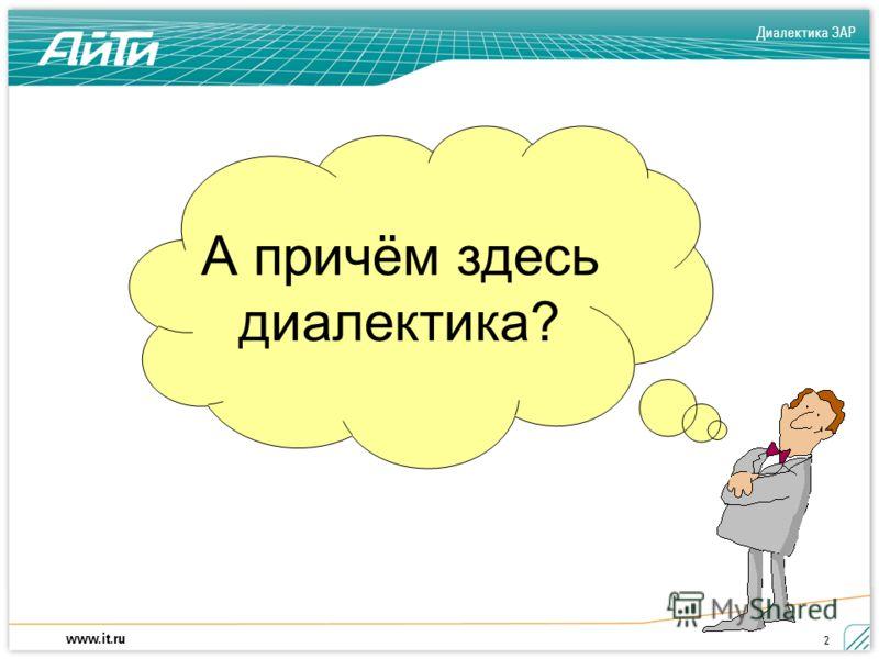 Диалектика ЭАР www.it.ru 2 А причём здесь диалектика?