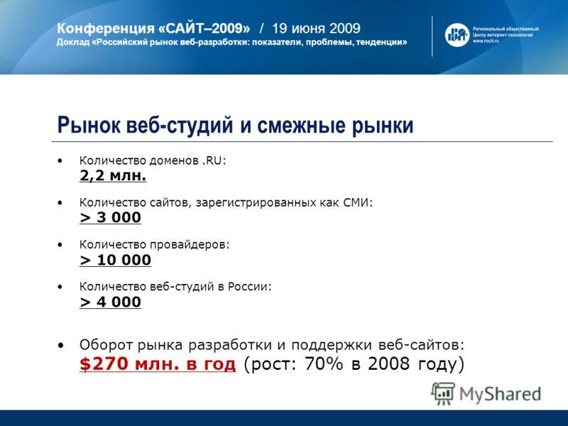 Конференция «САЙТ–2009» / 19 июня 2009 Доклад «Российский рынок веб-разработки: показатели, проблемы, тенденции» Количество доменов.RU: 2,2 млн. Количество сайтов, зарегистрированных как СМИ: > 3 000 Количество провайдеров: > 10 000 Количество веб-ст