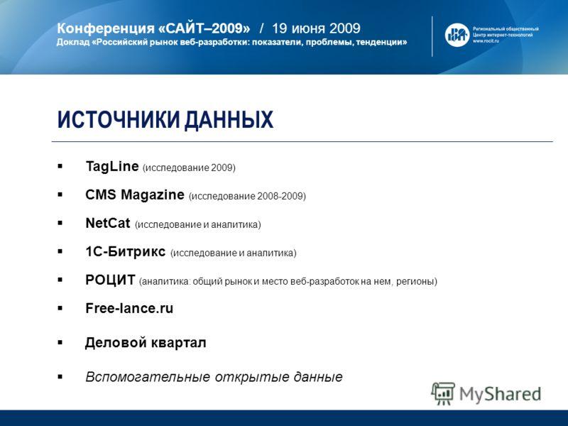 Конференция «САЙТ–2009» / 19 июня 2009 Доклад «Российский рынок веб-разработки: показатели, проблемы, тенденции» ИСТОЧНИКИ ДАННЫХ TagLine (исследование 2009) CMS Magazine (исследование 2008-2009) NetCat (исследование и аналитика) 1С-Битрикс (исследов