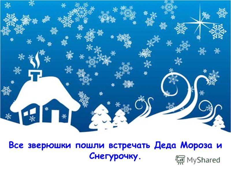 Все зверюшки пошли встречать Деда Мороза и Снегурочку.