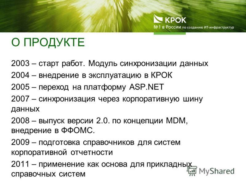 О ПРОДУКТЕ 2003 – старт работ. Модуль синхронизации данных 2004 – внедрение в эксплуатацию в КРОК 2005 – переход на платформу ASP.NET 2007 – синхронизация через корпоративную шину данных 2008 – выпуск версии 2.0. по концепции MDM, внедрение в ФФОМС.