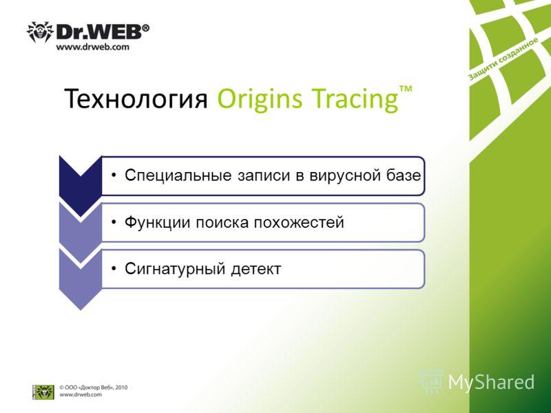 Технология Origins Tracing С п е ц и а л ь н ы е з а п и с и в в и р у с н о й б а з е Функции поиска похожестейСигнатурный детект