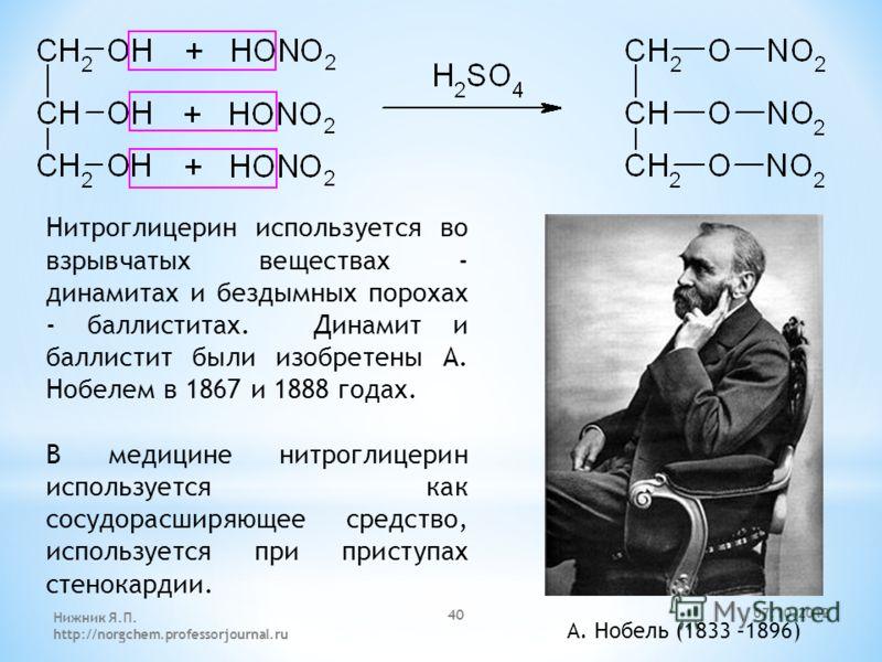 Нитроглицерин используется во взрывчатых веществах - динамитах и бездымных порохах - баллиститах. Динамит и баллистит были изобретены А. Нобелем в 1867 и 1888 годах. В медицине нитроглицерин используется как сосудорасширяющее средство, используется п