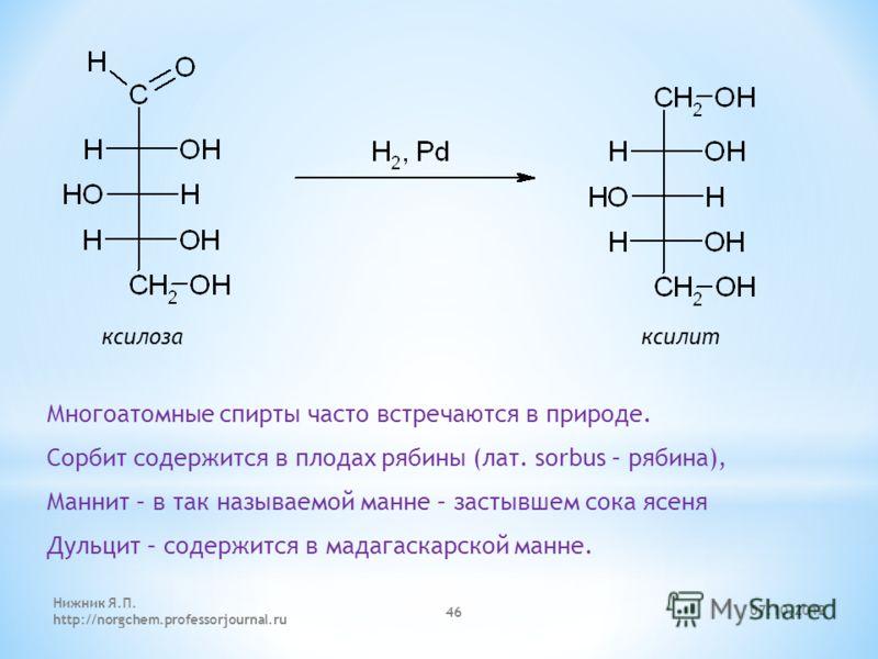 ксилоза ксилит Многоатомные спирты часто встречаются в природе. Сорбит содержится в плодах рябины (лат. sorbus – рябина), Маннит – в так называемой манне – застывшем сока ясеня Дульцит – содержится в мадагаскарской манне. 25.08.2012 Нижник Я.П. http: