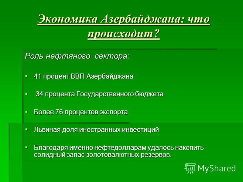 Экономика Азербайджана: что происходит? Роль нефтяного сектора: 41 процент ВВП Азербайджана 41 процент ВВП Азербайджана 34 процента Государственного бюджета 34 процента Государственного бюджета Более 76 процентов экспорта Более 76 процентов экспорта