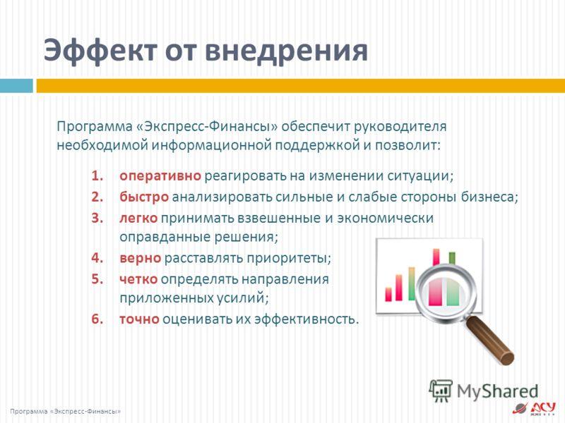 1.оперативно реагировать на изменении ситуации ; 2.быстро анализировать сильные и слабые стороны бизнеса ; 3.легко принимать взвешенные и экономически оправданные решения ; 4.верно расставлять приоритеты ; 5.четко определять направления приложенных у