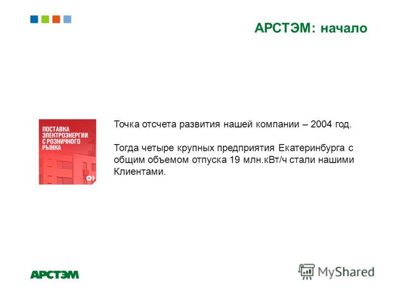 АРСТЭМ: начало Точка отсчета развития нашей компании – 2004 год. Тогда четыре крупных предприятия Екатеринбурга с общим объемом отпуска 19 млн.кВт/ч стали нашими Клиентами.