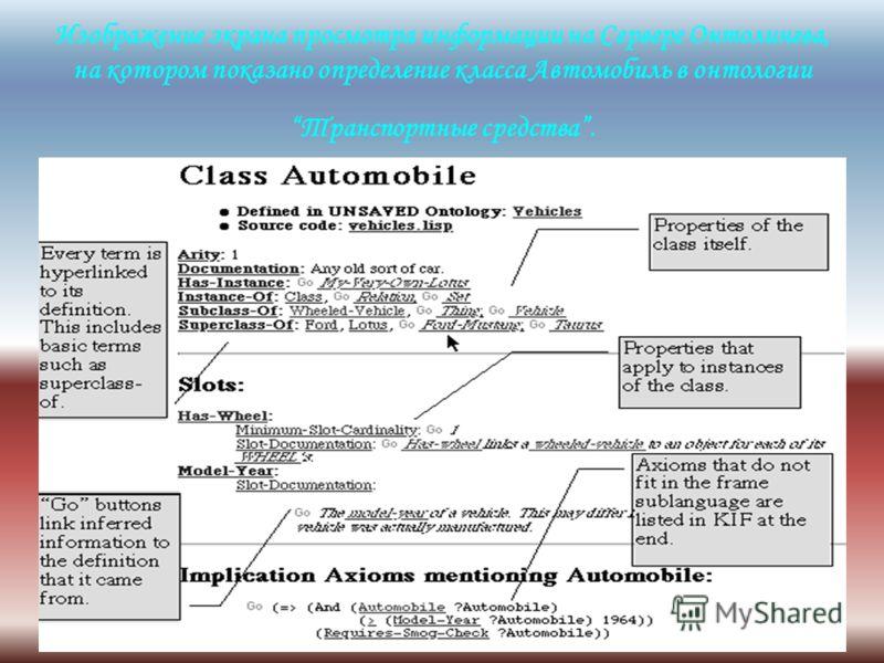 Изображение экрана просмотра информации на Сервере Онтолингва, на котором показано определение класса Автомобиль в онтологии Транспортные средства.