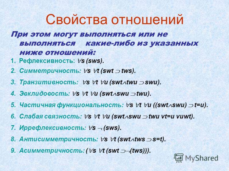 Свойства отношений При этом могут выполняться или не выполняться какие-либо из указанных ниже отношений: 1.Рефлексивность: s (sws). 2.Симметричность: s t (swt tws). 3.Транзитивность: s t u (swt twu swu). 4.Эвклидовость: s t u (swt swu twu). 5.Частичн