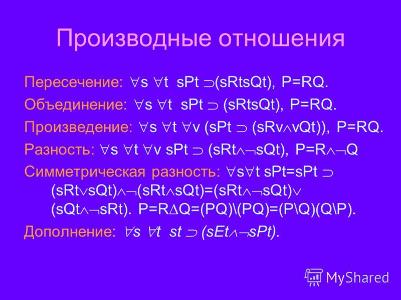 Производные отношения Пересечение: s t sPt (sRtsQt), P=RQ. Объединение: s t sPt (sRtsQt), P=RQ. Произведение: s t v (sPt (sRv vQt)), Р=RQ. Разность: s t v sPt (sRt sQt), P=R Q Симметрическая разность: s t sPt=sPt (sRt sQt) (sRt sQt)=(sRt sQt) (sQt sR